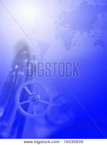 A blue tech background with gears and map of earth