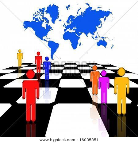 Figures stand upon a chessboard with a map of the earth behind them