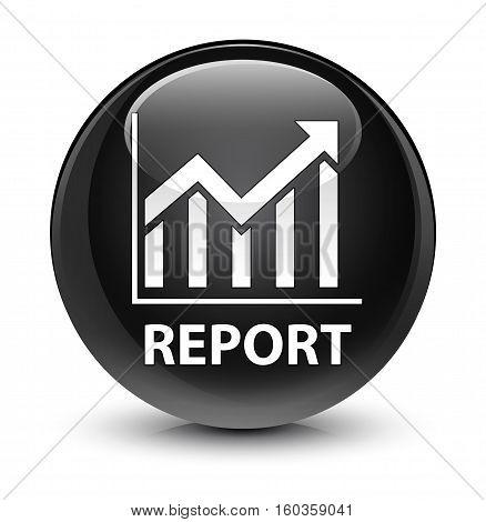 Report (statistics Icon) Glassy Black Round Button