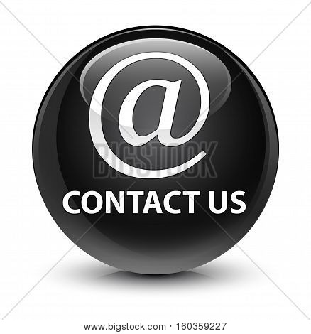 Contact Us (email Address Icon) Glassy Black Round Button