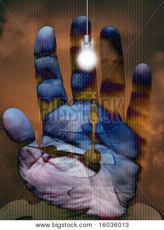 A surreal composition of bulb, hand puzzle, clock hands