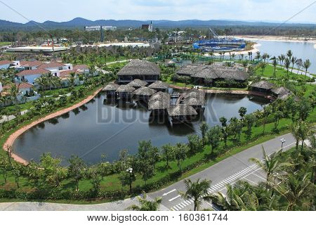 Phu Quoc, Vietnam - Apr 5, 2015: Construction site of a project by Vingroup in Phu Quoc island, Vinpearl Resort. Vingroup is one of the major investors in the island.