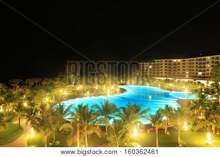 Phu Quoc, Vietnam - Apr 5, 2015: View of Vinpearl Phu Quoc resort in the night, a project by Vingroup corporation, in Phu Quoc island. Phu Quoc is one of the world's most beautiful beaches.