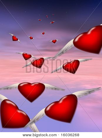 Winged hearts in flight in a soft pinkish sky