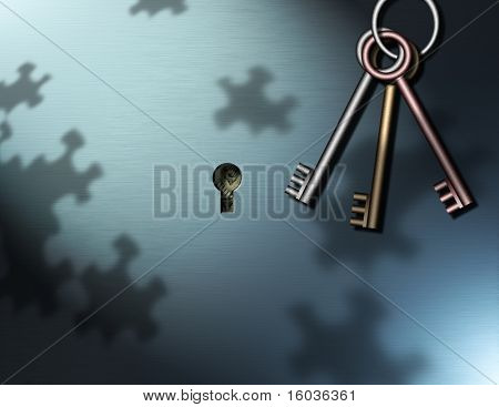 Keys Hang near a key hole, puzzle piece shadows are cast upon the wall, behind the keyhole some money can be seen