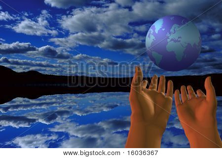 A fascinating image of the globe as if just tossed in the air by the two hands beneath it and for the background a beautiful lake and sky