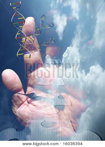 Flotador de mano y reloj de cadena ADN en las nubes