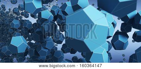 a dark blue 3D Abstract objekt Technology Background
