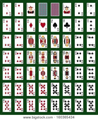 Poker set with isolated cards on green background. Casino gambling deck playing royal king queen jack gamble symbols. Blackjack club flush vector design.