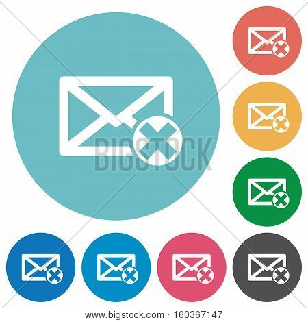 Delete mail white flat icons on color rounded square backgrounds
