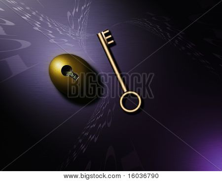 Swirling binary code, a gold key and nestegg