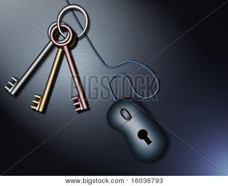 Tech image Keys and computer mouse