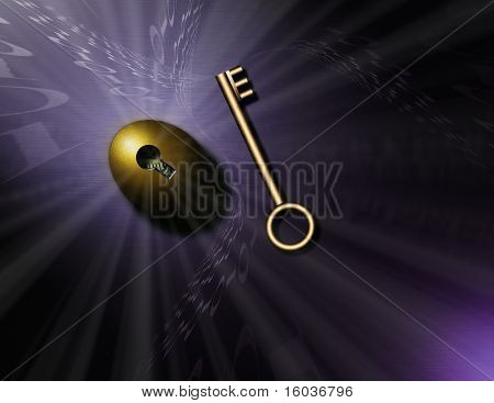 Swirling binary code, a gold key and nestegg