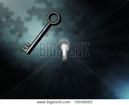 Enigma: A bright light shines from a keyhole, puzzle piece shadows, and a waiting key