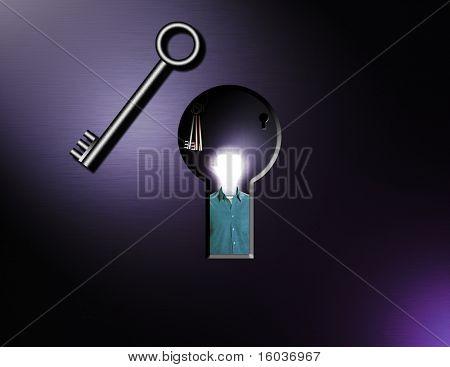 Idea Man stands behind an keyhole