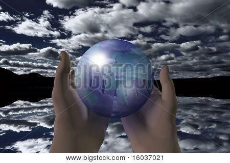 A transparent earth held in outstretched hands