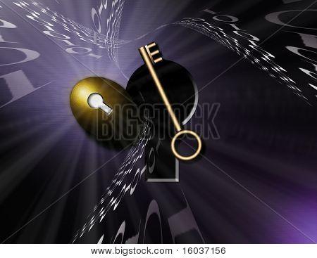 Binary code swirls around a nestegg and an open keyhole where a key sits precariously
