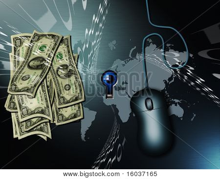 Cash, a pc mouse, binary code and a map of the earth. All being watched by the peering eye seen thru the keyhole.