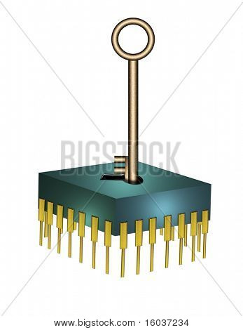 Computer chip with key on white