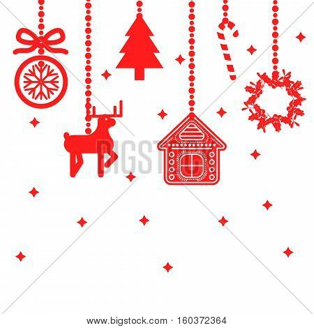 Hanging christmas toys decoration vector. Red ball, deer, tree and house festive decor for card.