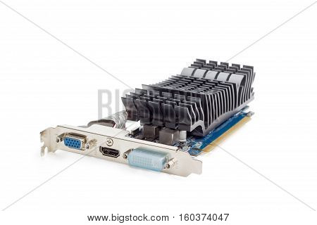 Graphics card with connectors of a different output interfaces and equipped with heat sink without fan on a light background