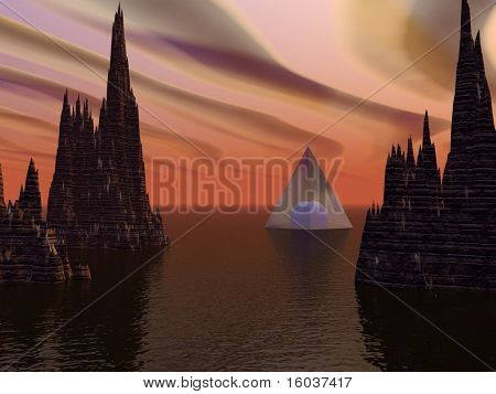 A glass pyramid in a strange landscape