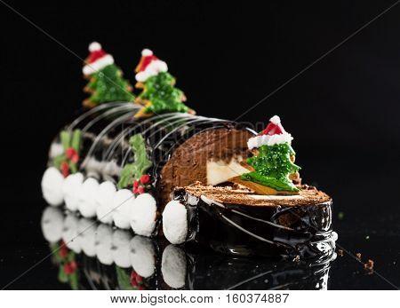 Christmas chocolate yule log
