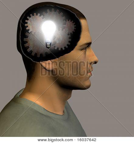 Lit bulb and gears inside head