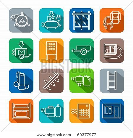Electric equipment and construction equipment, contour icons, colored.  Vector, line, image electric, gas, and construction equipment. White figures on a colored background with a shadow.