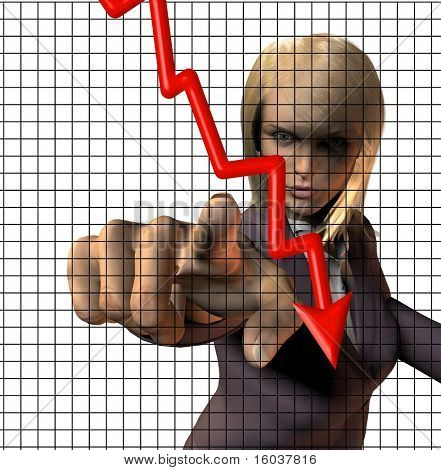 Uma mulher accusingly aponta em direção a nós e um gráfico mostrando uma tendência doward