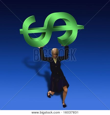 Woman burdened with $ symbol