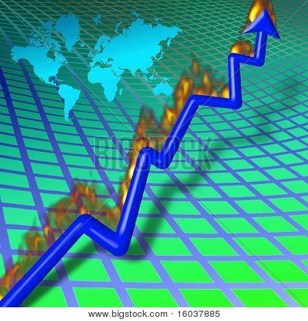 Chart with burning upward arrow