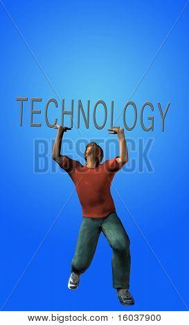 Man strains under burden of technology