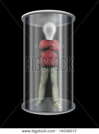 Idea man in glass case