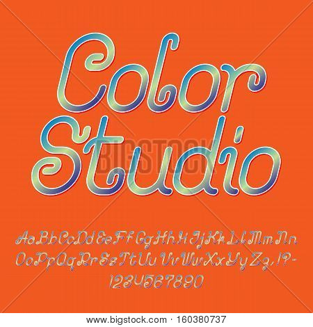 Beautiful colorful curly font italic type. Isolated english alphabet of capital and lowercase letters with numbers and punctuation marks. Color Studio text lettering.