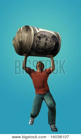 Man struggling to hold up a large roll of US cash
