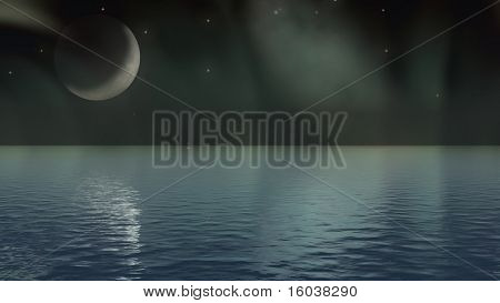 Moon and aurora over water