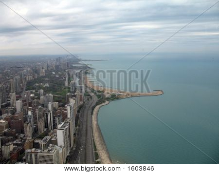Chicago Shoreline With Skyscrapers