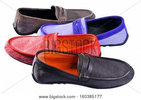 Ukraine Kiev - August 25 2016: Men's leather loafers. mens shoes - multi colored moccasins. Four different color shoes moccasins isolated on white background