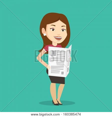 Cheerful caucasian woman reading the newspaper. Young smiling woman reading good news in newspaper. Woman standing with newspaper in hands. Vector flat design illustration. Square layout.
