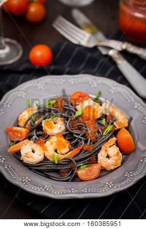 Black Spaghetti With Shrimps And Red Caviar