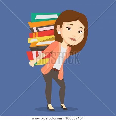 Caucasian tired student carrying a heavy pile of books on her back. Sad student walking with huge stack of books. Student preparing for exam with books. Vector flat design illustration. Square layout.