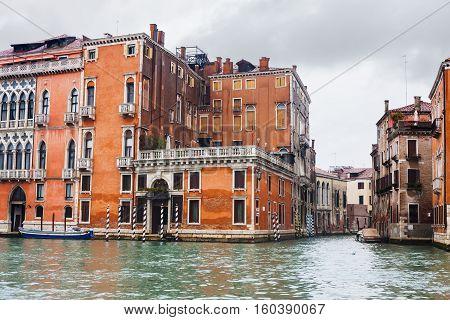 Wet Apartment Buildings In Venice In Autumn Rain