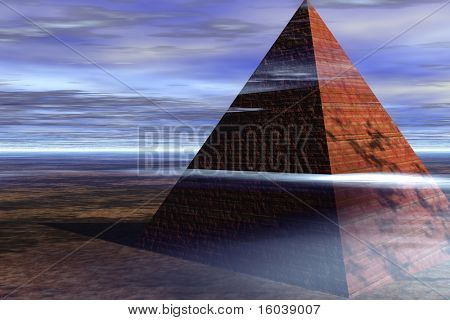 Pyramid in cloudy landscape