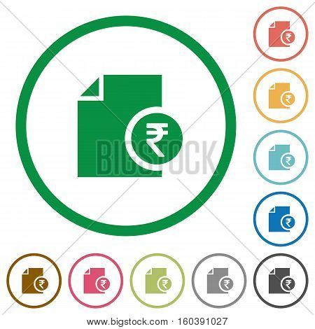 Indian Rupee report flat color icons in round outlines