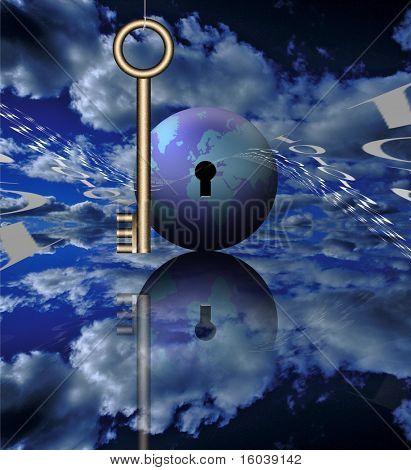 Una clave, código binario y el mundo