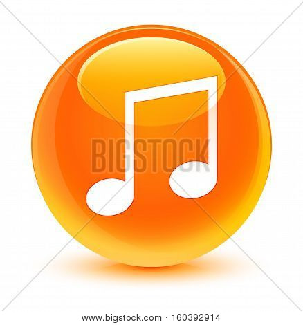 Music Icon Glassy Orange Round Button