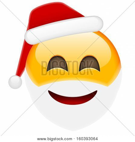 Happy Santa Smile Emoticon For Christmas And New Year