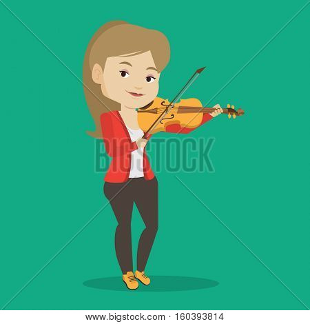 Young smiling musician playing violin. Cheerful violinist playing classical music on violin. Caucasian female musician standing with violin. Vector flat design illustration. Square layout.