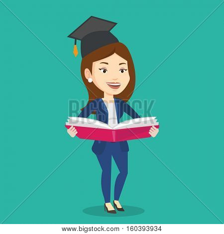 Graduate standing with a big open book in hands. Smiling female student in graduation cap reading a book. Woman holding a book. Concept of education. Vector flat design illustration. Square layout.